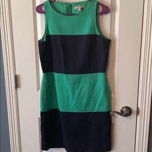 Green/navy color block dress with pockets!
